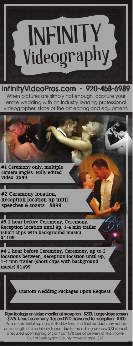 video videography sheboygan weddings price list inexpensive